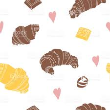 Seamless Background With Chocolate Croissant Vanilla White Hand Drawn Vector Illustration