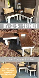 build a corner bench with built in table corner bench front