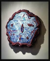 Pam Foss Fine Art Celestial Fragment Mixed Media Wall Sculpture