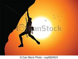 Cliff Hanger Vector Illustration Of A Man Figure Hanging On