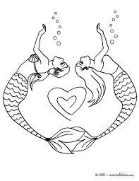 Mermaid Couple Drawing A Heart