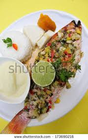Grilled Fish With White Rice Caribbean And West African Traditional Dish Martinique