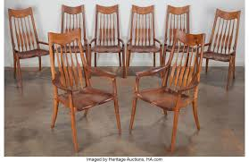 Sam Maloof (American, 1916-2009). A Set Of Eight Dining ... Home Decor Tempting Windsor Ding Chairs Cool Dr Dimes Genuine Farmhouse Farm Table South American Walnut 180758555 Lovely Made Solid Maple Set Of 4 Back Antique Stiback Chairs And Table In Colonial The Best Ding You Can Buy Business Insider Senarai Harga Nordic Chair Classic Style Modern 2 Ethan Allen Impressions Solid Cherry Slat Back 246401 Ted Spindles Safavieh Parker Spindle Set Of New Haven
