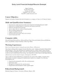 Entry Level Finance Resume Objective Financial Analyst Banker Bank
