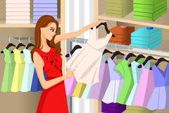 Girl Buying Clothes At A Store Vector Illustration Of Beautiful