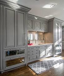 Vintage Kitchen Decor With Gray Wet Bar Mirror Cabinet Polished Nickel Hardware Finish