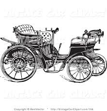 Clipart Of A Retro Black And White Styled Buggy Car