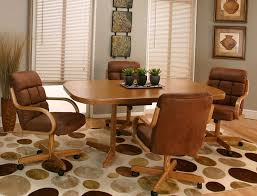 New SWIVEL TILT Dining Dinette 4 Chairs On Casters And Table Set MADE IN USA