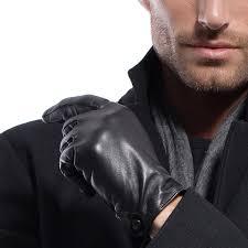 matsu men u0027s nappa leather soft long fleece lined gloves police