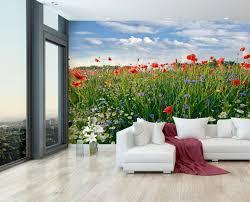 fototapete blumenwiese fototapeten tapete wandbild mohnblume feld himmel küche m0493