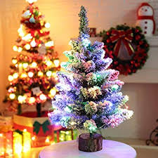 50cm Flocked Christmas Tree Artificial With Lights Battery Powered