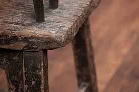 Antique Rustic Chinese Elm Wood Bench Weathered Black Lacquer Paint Two Rounded Back Seats With Arm Rests From Shanxi Region Circa 1800