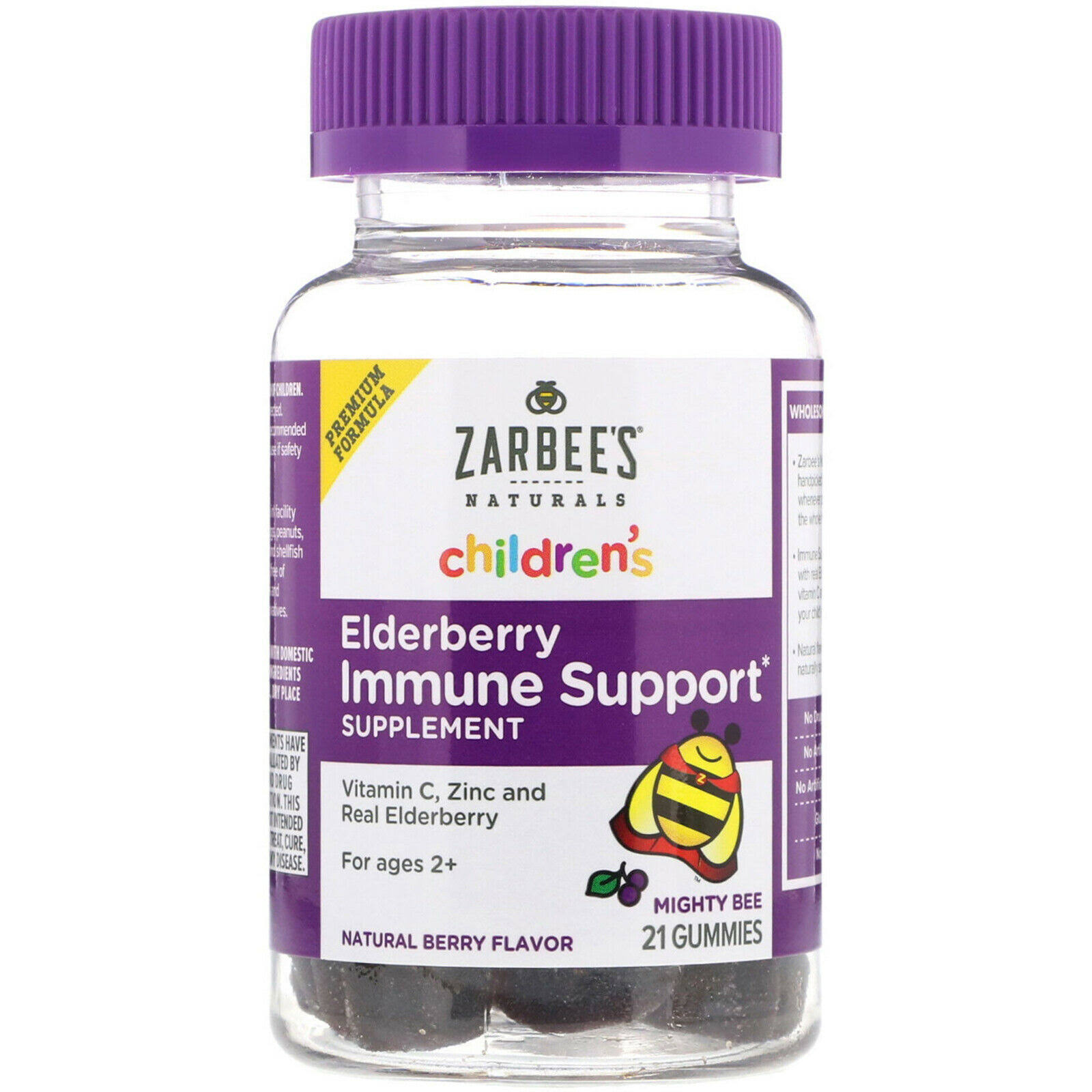 Zarbee's Naturals Children's Elderberry Immune Support Supplement - Natural Berry, 21 Gummies