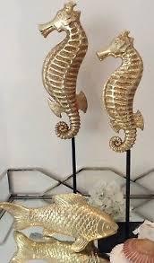 sale seepferdchen seepferd dekofigur gold badezimmer deko