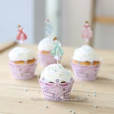 Free Shipping fancy crown princess cut cupcake wrappers birthday party decoration paper girl cake toppers