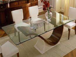 Glass Top Table With Wooden Base Modern Dining Furniture