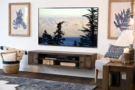 Rustic Barn Wood Style Floating TV Stand