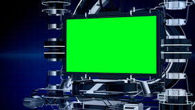 3d Animation News Reporting Screen Television Or Media Program Interface With Mechanical Stage Chroma Key Green
