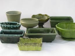 Mccoy Pottery Planters Vintage Pottery Planters Lot All Shades Green Floraline