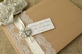 Elegant Rustic Style Personalised Wedding Guest Book Lace Jewel Tag Design