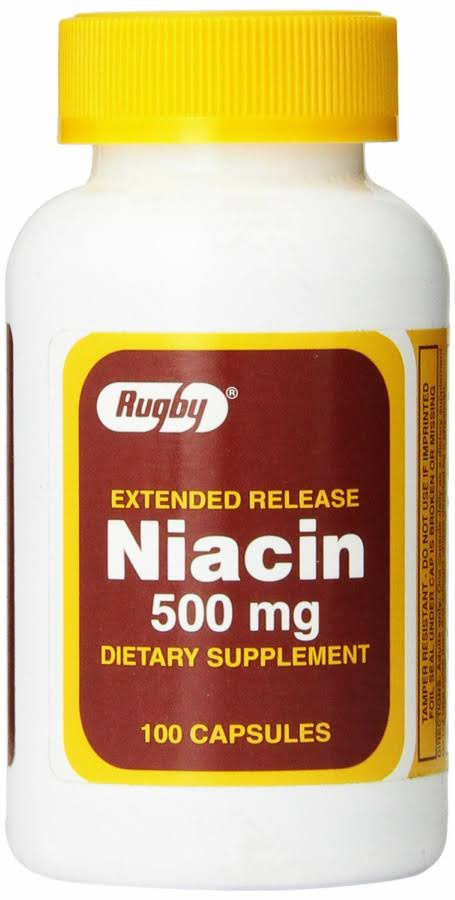 Rugby Extended Release Niacin Dietary Supplement - 500mg, 100 Capsules