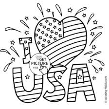 I Love USA Coloring Pages July 4 Independence Day
