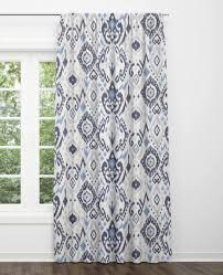 Blue Ikat Curtains Grey Dining Room Ethnic Navy Gray Long