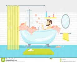 karikatur mann in der badezimmer badewanne mit schaum karten