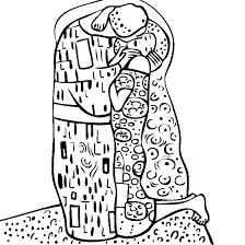 Gustav Klimts The Kiss Coloring Page