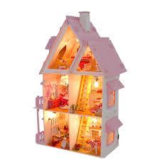 Diy Wooden Dolls House Doll House Led Light Miniature Dollhouse W