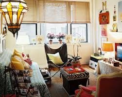 Colors For A Small Living Room by Elegant Small Space Boho Chic Living Room With Patterned Sofa And
