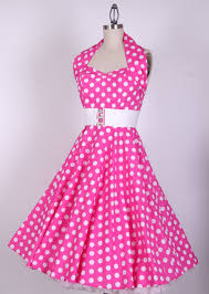 50s halterneck pink white dots swing pinup dress 20130324