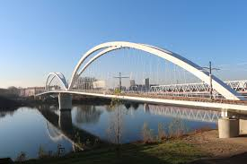 100 Water Bridge Germany Over Rhine River Strasbourg France Kehl