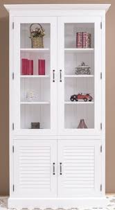 casa padrino landhausstil massivholz schrank mit 4 türen weiß 64 x 39 x h 210 cm regalschrank wohnzimmerschrank vitrinenschrank landhausstil