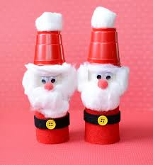 Cute Christmas Craft For Kids Toilet Paper Roll Santas
