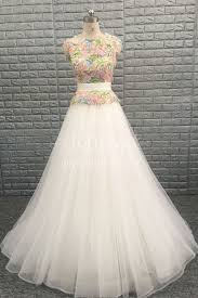 Floral Organza Sleeveless A Line Tulle Rustic Bridal Dress