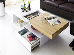 table basse design blanc laqué et bois chêne royale deco