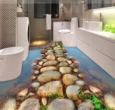 Tiles Are The Most Common Choice For Bathroom Flooring But If You Want To Make Floor More Eye Catching Then May Add Some 3D Designs