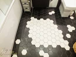 black and white bathroom floor tile hexagonal design flooring