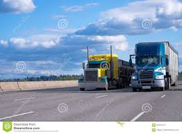 100 Images Of Semi Trucks Classic Yellow And Blue Modern Side By Side On The R