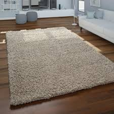 teppich wohnzimmer hochflor modernes einfarbiges design unifarben beige grösse 140x200 cm