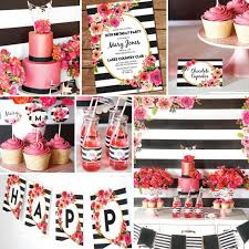 Pink White And Gold Birthday Decorations by Black And White Stripe Party Decorations Watercolor Floral