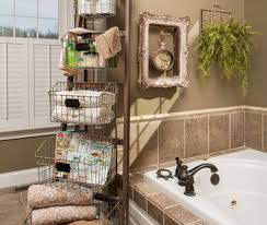 Antique Bathroom Wall Decor And Ideas For Traditional Interior Design With Stylish Built In Tub Metal Baskets
