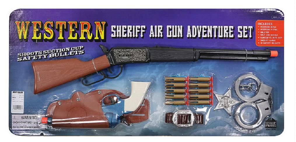 Western Cowboy Sheriff Rifle Pistol Plastic Toy Gun Set Badge Kit - with Air Darts