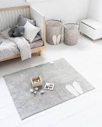 waschbarer kinderzimmer teppich kaninchen lapin grau