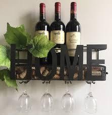 Wine Bottle Cork Holder Wall Decor by Amazon Com Wall Mounted Metal Wine Rack 4 Long Stem Glass Holder