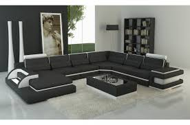 canapé angle 8 places canapé d angle en cuir italien 7 8 places bestof noir et blanc