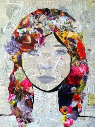 Mixed Media Art Torn Newspaper Bknd Draw Portrait On Top Add More Collage