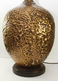 Who Makes Ledu Lamps by Vintage Lamp Ceramic Gold Drip Glaze Fat Lava Bronze Monument