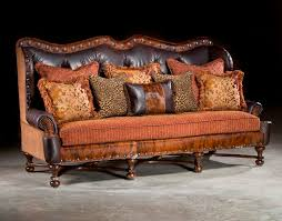 Rustic Leather And Fabric Sofa